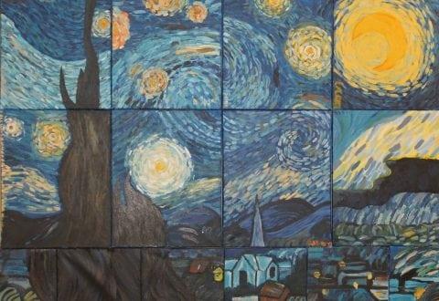 Maleriet er lavet af 7. klassens kunst - og designlinjes elever i 2016 (i dag er de 9. klasse). Det var en gruppeopgave i farveblanding og farvebalance. Pressefoto: Slagelse kommune.