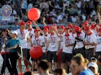 Athletes and coaches attend the opening ceremonies for the 2015 Special Olympics World Games at the Los Angeles Memorial Coliseum. Los Angeles, CA 7/25/2015 (photo by John McCoy Daily News)