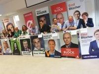 Astrid Carøe (Socialistisk Folkeparti), Linda Hansen (Enhedslisten), Liselott Blixt (Dansk Folkeparti), Joan Kragh (Alternativet), Peter Seier Christensen (Nye Borgerlige), Naser Khader (Konservative), Marcus Knuth (Venstre), Tom Block (Socialdemokratiet), Simon Blücher (Liberal Alliance). Foto: SDL