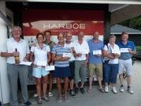 Fra venstre: Erik, Gritt, Inge, Elisabeth, Finn, Rudy, Tue, Ingeborg og Martin. Foto: Korsør Golf Klub.