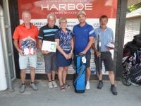 Fra venstre: Svend-Erik, René, Tina (Golf Shop Korsør) Martin og Peter. Foto: Korsør Golf Klub
