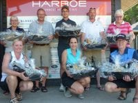 Fra venstre bagest: Dorit, Poul, Mikkel, Tue og Liss. Fra venstre forrest: Henriette, Beatriz og Anders. Foto: Korsør Golf Klub.